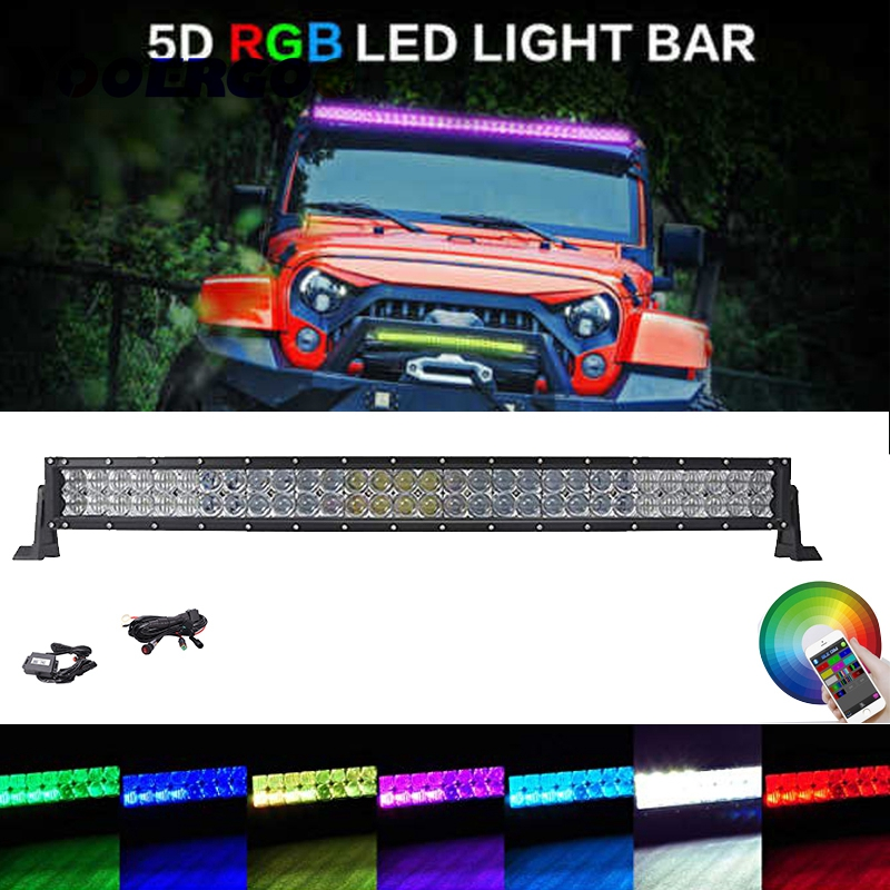 180W LED RGB Light Bar Multi Color Changing Offroad Flash Bluetooth JK
