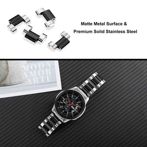 Image 4 - Quick Release Stainless Steel Watchband + No Gap Adapter for Samsung Galaxy Watch 46mm Gear S3 Band Silver Black Strap Bracelet