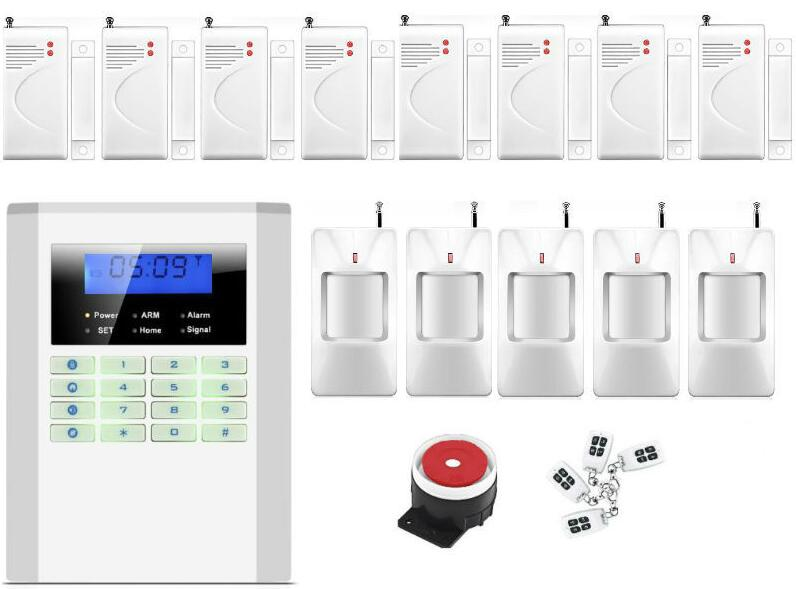free ship Wired and Wireless LCD Home Security GSM/PSTN alarm 99 Wireless zones GSM Security Alarm for hotel/apartment etc.