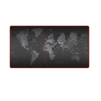 World Map Mouse Pad with Locking Edge Full black extra huge Large Multi-size Rubber desk Mat for Gaming pc keyboard new gift