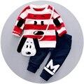Outono Inverno Meninos Do Bebê Conjuntos De Algodão Listrado Cão Camisolas Tops + conjunto Calça Casual Roupa Dos Miúdos 2 pcs Ternos roupas de bebe