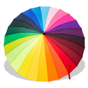 Image 5 - 24K Радуга Большой против ветра и дождя, Для мужчин кожаные ложки с длинной ручкой, зонт для воинов женский зонт от солнца и дождя с сумкой