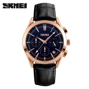 Image 3 - SKMEI marque de luxe hommes mode Sport décontracté montres hommes étanche en cuir Quartz montre homme militaire horloge Relogio Masculino