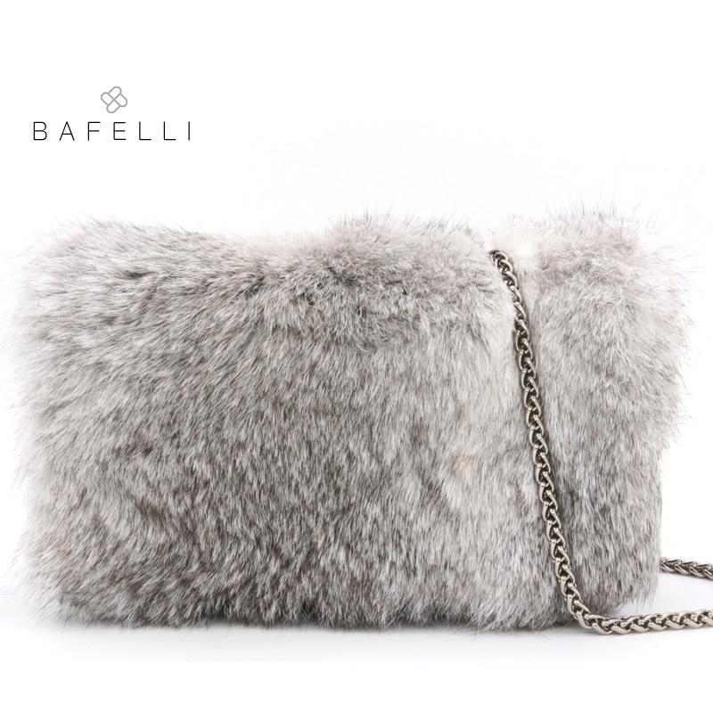 BAFELLI autumn and winter new arrival real fur chains shoulder bag rabbit fur warm plush bag bolsa feminina gary flap women bag