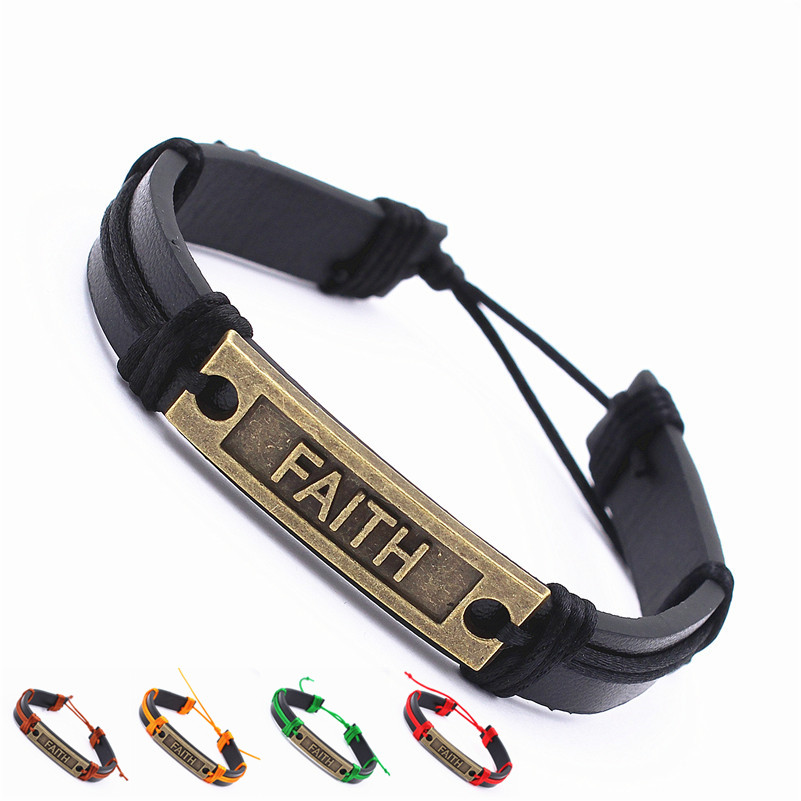 Faith Bracelet Adjustable Black Leather Bracelet Bronze metal plate stamped Faith Unisex Colorful rope gift for him boys men