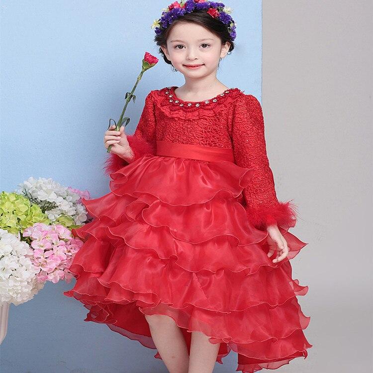 Korean Girls Red Velvet Lace Princess Flower Birthday Wedding Party Dress Kids Clohthing White Red Mesh Bow