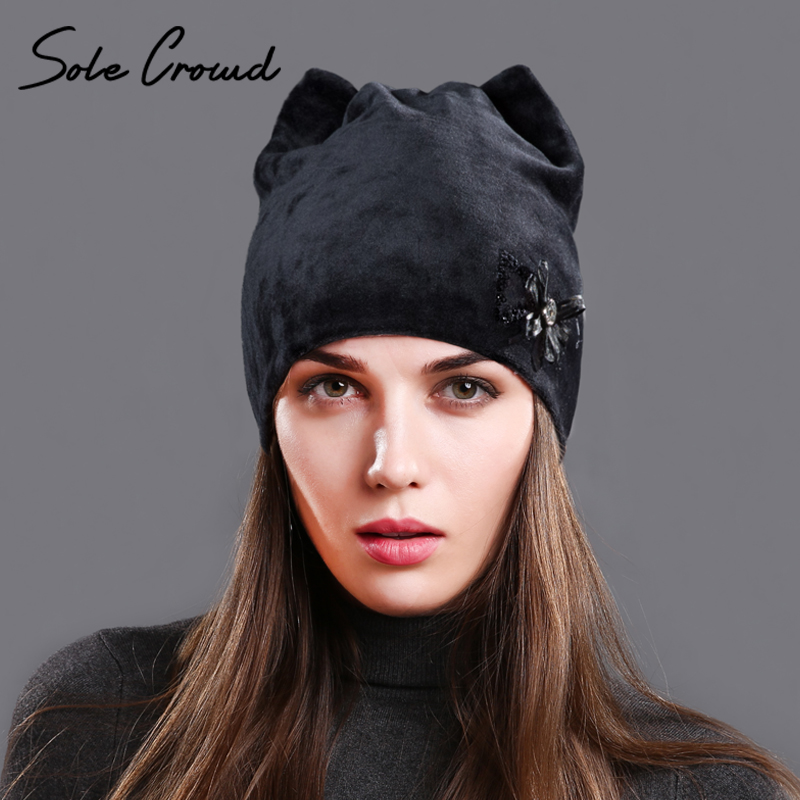 Sole Crowd 2017 Women's cat ears winter warm velvet hats fashion flowers autumn caps   skullies     beanies   for Female cute girls hat