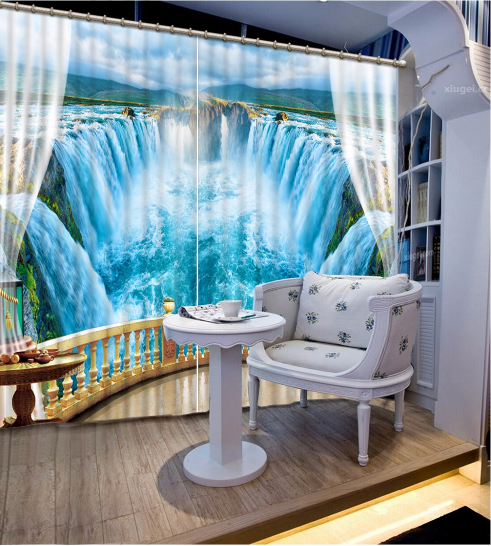 Photo Customize Size 3D Curtain Background Blue Scenic Waterfall Curtains Curtain For Bathroom Blackout Curtain Fabric