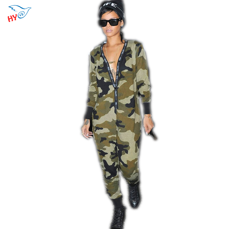 Long Pant Jumpsuits Camo Sport Suit Long-sleeved piece pants Deep V Neck Sexy Overalls Bodysuit Bodycon Button Rompers women