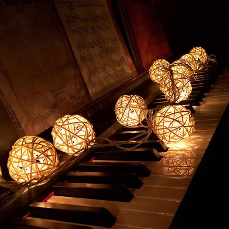 Image 2 - 2M Rattan Ball LED String Light Warm White Fairy Light Holiday Light For Party Wedding Decoration Christmas Lights Garland-in LED String from Lights & Lighting on