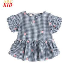 Summer Fashion Embroidery Blouse Kids Shirt Plaid Flower Shirts Tops Girls Blouses Shirt Children Clothes KT067