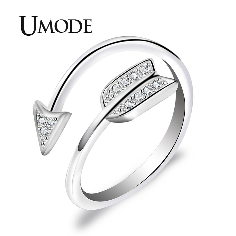UMODE 2019 New Arrow Paved CZ Crystal Open Cuff Ring for Women Clear Round Zircon White Gold Adjustable Jewelry AUR0497