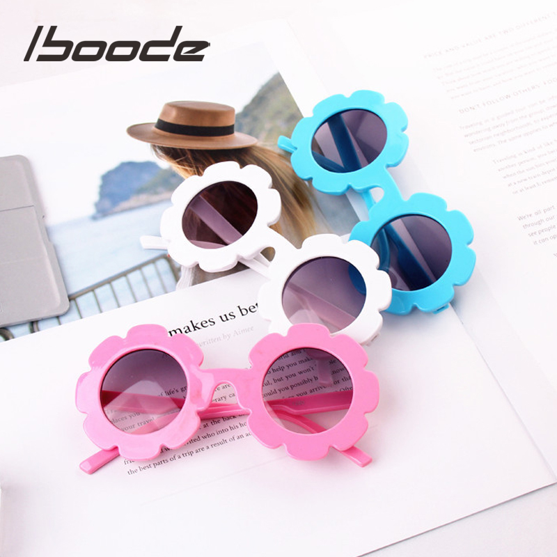 Iboode Kids Sunglasses Flower Round Shape Baby Child Sun Glasses Gafas UV400 Children Sunglasses For Girls Boys Oculos De Sol