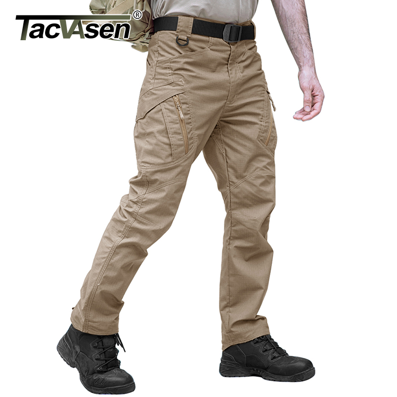 TACVASEN IX9 Men Rip-stop Tactical Pants City Cargo Pants Slim Casual Pants Mens Military Combat Trousers TD-YCXL-033-01