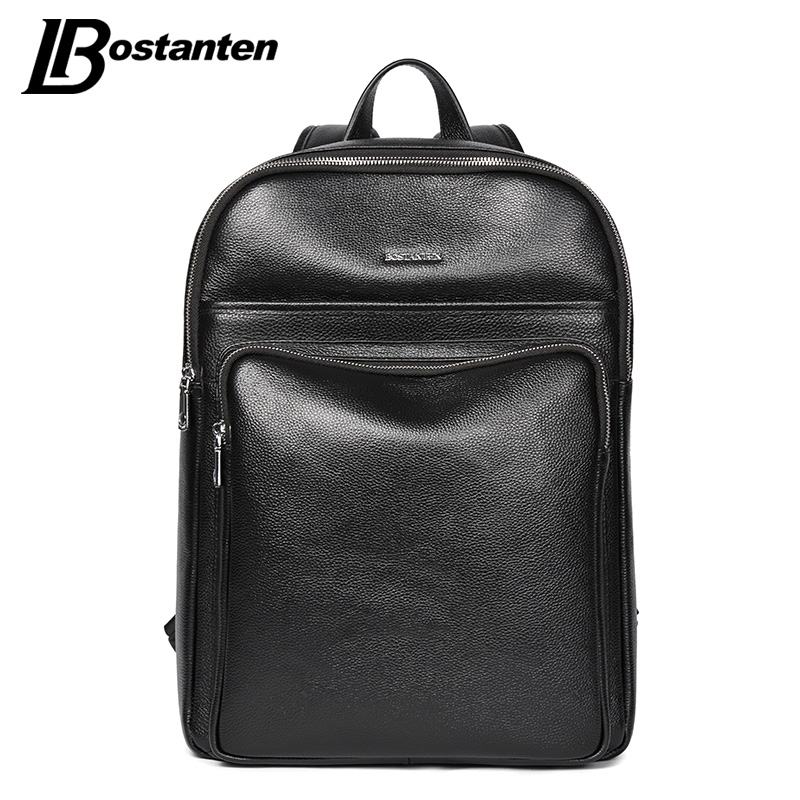 BOSTANTEN New School Bags Leather Backpack Male Business 14 15 Inch Laptop Backpacks School Large Capacity Waterproof Backpack 14 15 15 6 inch flax linen laptop notebook backpack bags case school backpack for travel shopping climbing men women