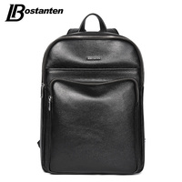 BOSTANTEN New School Bags Leather Backpack Male Business 14 15 Inch Laptop Backpacks School Large Capacity