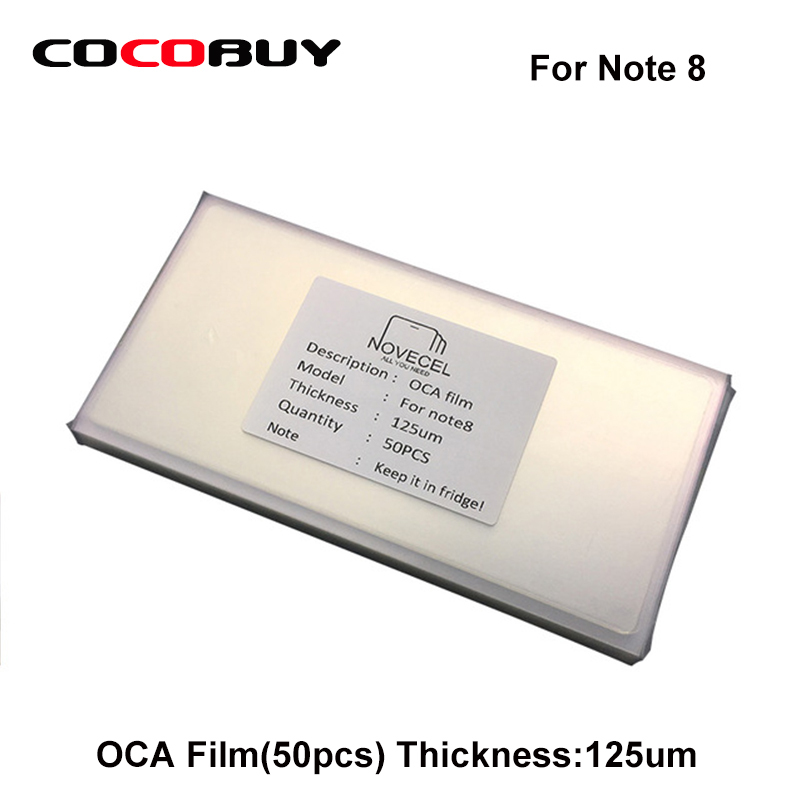 50pcs/lot OCA Optical Clear Adhesive Double-side Sticker for Note 8 N950 LCD Digitizer,Thickness:125um free shipping 50 pcs lot oca optically clear adhesive tape for iphone 5 5c 5s 6 7 8 8p x 4 4 7 5 5 inches thickness 250 um