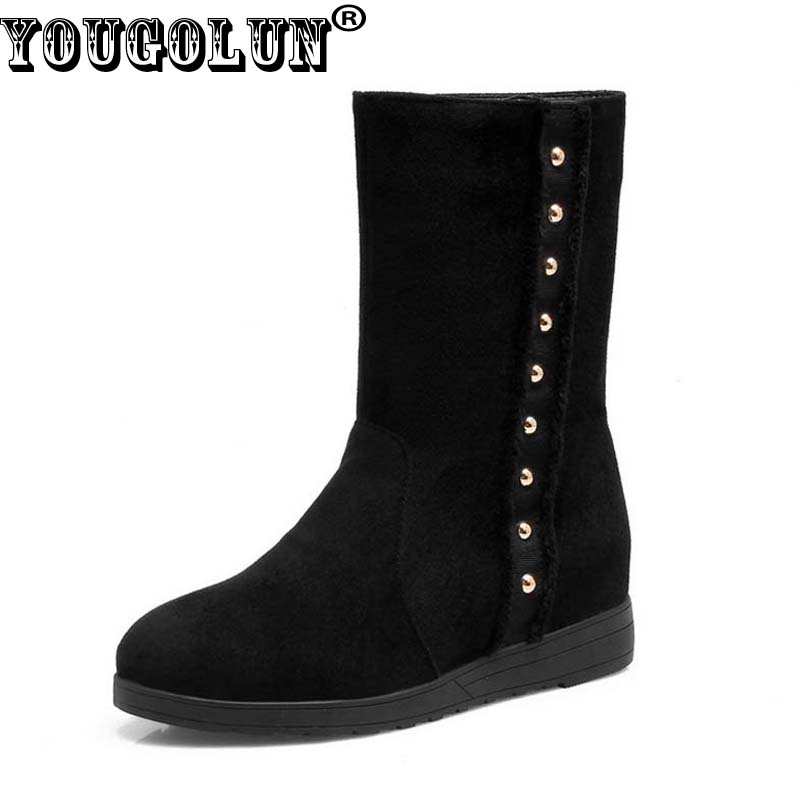 YOUGOLUN Women Ankle Boots 2017 New Autumn Winter Long Plush Lining Black Rivets Wedges Shoes Round toe Wedge Heel #Y-137 hxrzyz autumn ankle boots women increased wedges new round toe thick heel female anti skid side zipper shoes black winter boots