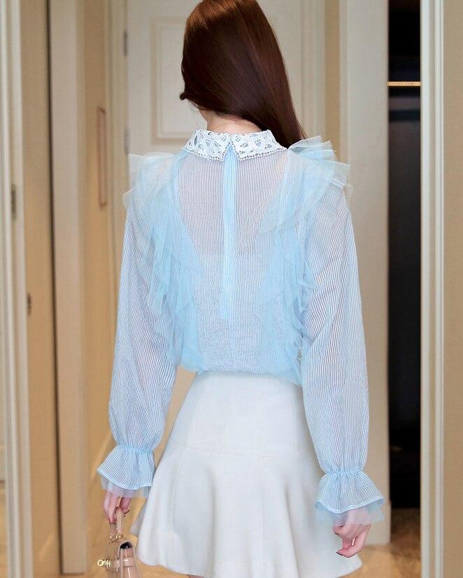 Bleu Chemise Manches Ruches Femmes Longues Vêtements Tops Doux En Dentelle De Mode Casual Élégant Mousseline Chemisier Nouvelle nAaz7xE