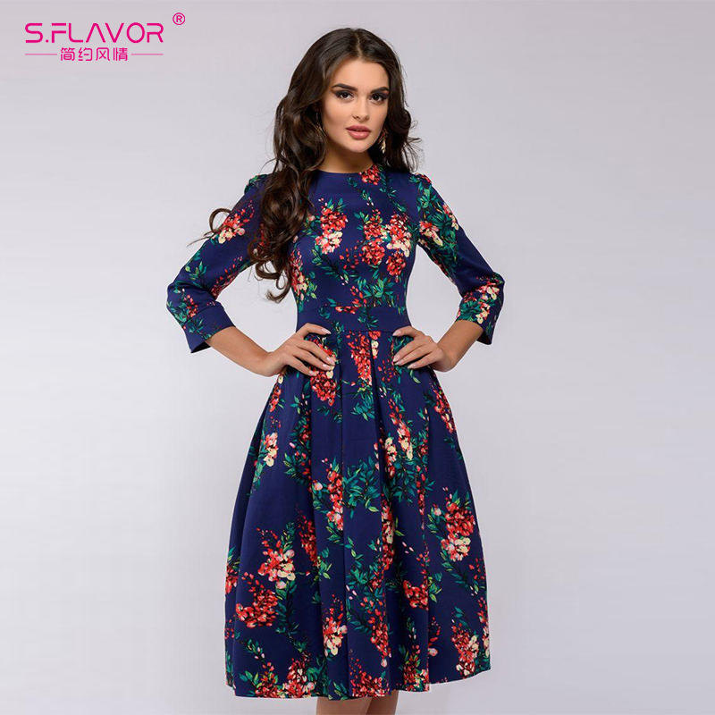 S.FLAVOR Brand Elegant Women A-line Dress New Style Flower Printing Draped Middle Dress Women Casual Autumn Winter Vestidos