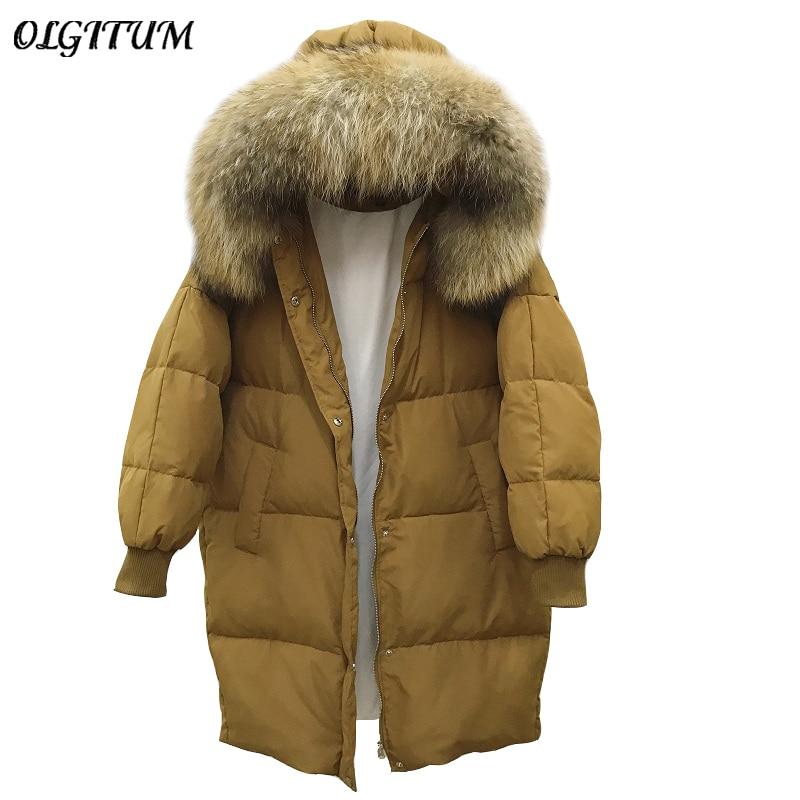 Winter New Real Raccoon Fur Collar Hooded Coat 90% Duck Down Ultra Light Jacket Women Long Warm Loose Maternity Jacket Parka