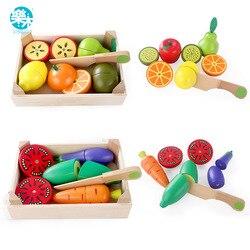 Brinquedos de cozinha de madeira corte frutas vegetais jogar comida em miniatura crianças de madeira do bebê educação precoce alimentos brinquedos