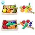 Kitchen toys cortar fruta vegetal play comida em miniatura de madeira crianças de madeira comida do bebê no início da educação toys