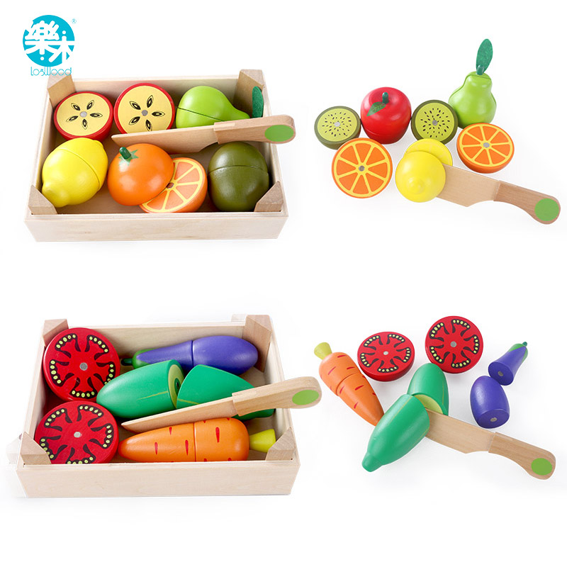 Wooden Kitchen Toys Cutting Fruit Vegetable Play miniature Food Kids Wooden baby early education food toys