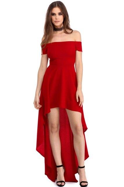 a802f94c8 Mujeres Slash cuello Ruffles vestidos de fiesta Sexy elegante manga corta  alto bajo dobladillo asimétrico largo