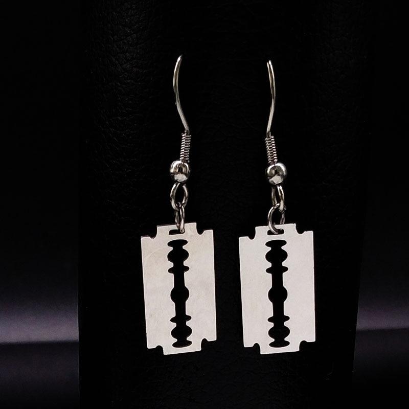 Fashion Stainless Steel Small Razor Blade Earrings Silver Plated Drop Earring Steampunk Hanging Earrings Jewelry Women