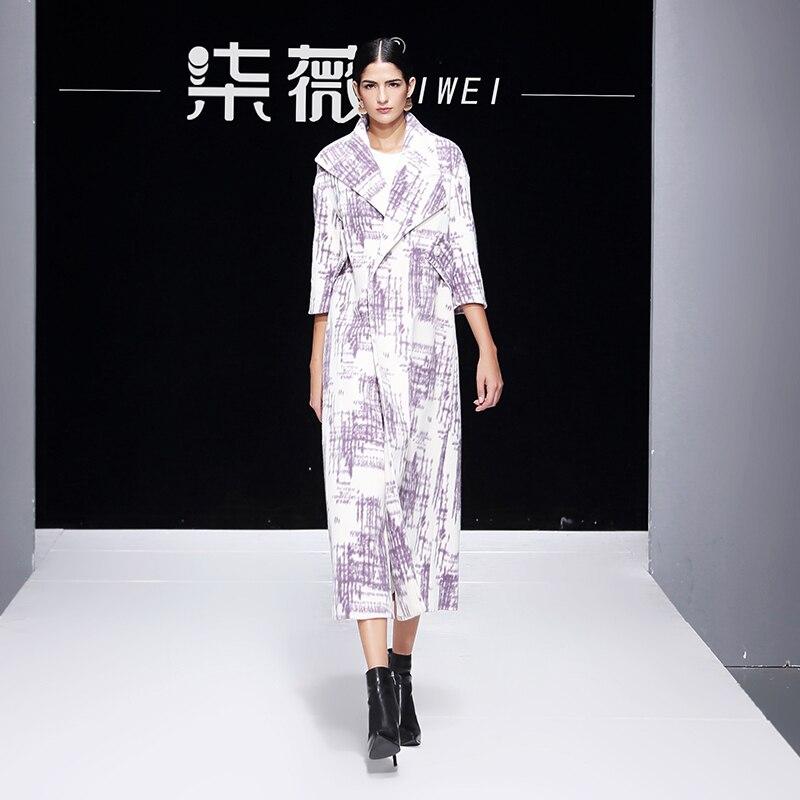 De Manteau Lâche Impression Revers Laine Grande Femmes Automne Femme Printing Long Élégant Cardigan Cachemire Grand Hiver Taille UqYzIqP