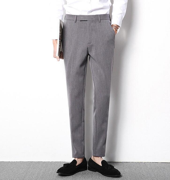 Men Korean Style Slim Fit Business Casual Soft Elastic Chic Long Pants Slacks S