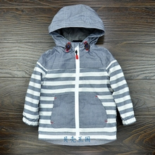 baby boys/toddler/ baby's windproof /waterproof hooded jacket, windproof coat, stripe and classic design, 9-12M