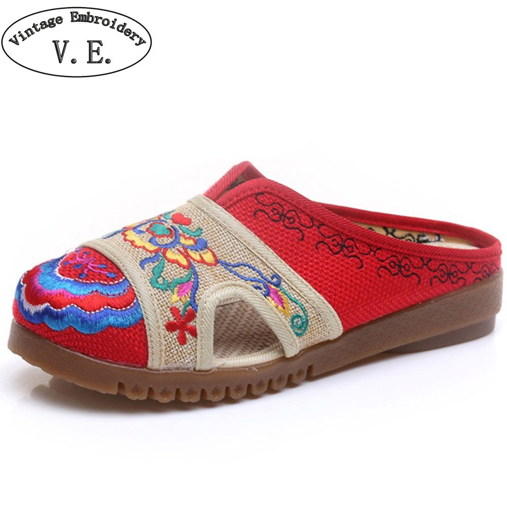 Vintage Women Slippers Hemp Sandals Summer Embroidered Linen Tendon Chinese Embroidery Old BeiJing Shoes Plus Size 42 vintage embroidered women slippers summer new linen chinese canvas old beijing flowers sandals soft shoes size 35 41
