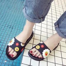 Women's Slippers 2019 Summer Cute Sun flower Cartoon Women Slides Beach Shoes Women Flat Heels Flip Flops Slipper TUX31
