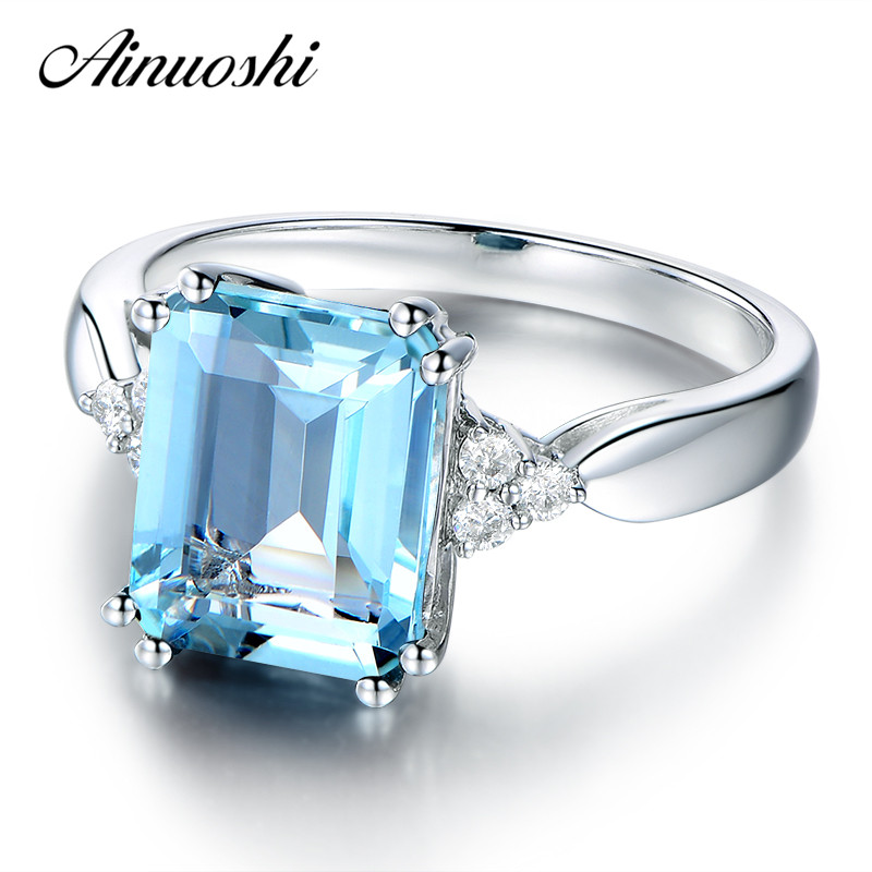 AINUOSHI 3 Carat Emerald Cut Luxury Sky Blue Natural Topaz Ring 925 Sterling Silver Engagement Ring Wedding Jewelry Gift helon sterling silver 925 flawless 11x9mm emerald cut 4 36ct real blue topaz natural diamond engagment wedding ring fine jewelry