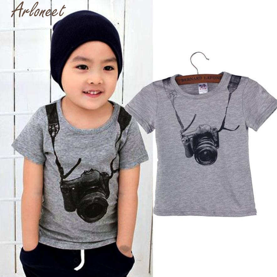 ARLONEET T-Shirt Children Boy Clothes Summer Children Boy Kids Camera Short Sleeve Tops O-Neck T Shirt Tees Clothes P30 Dec20
