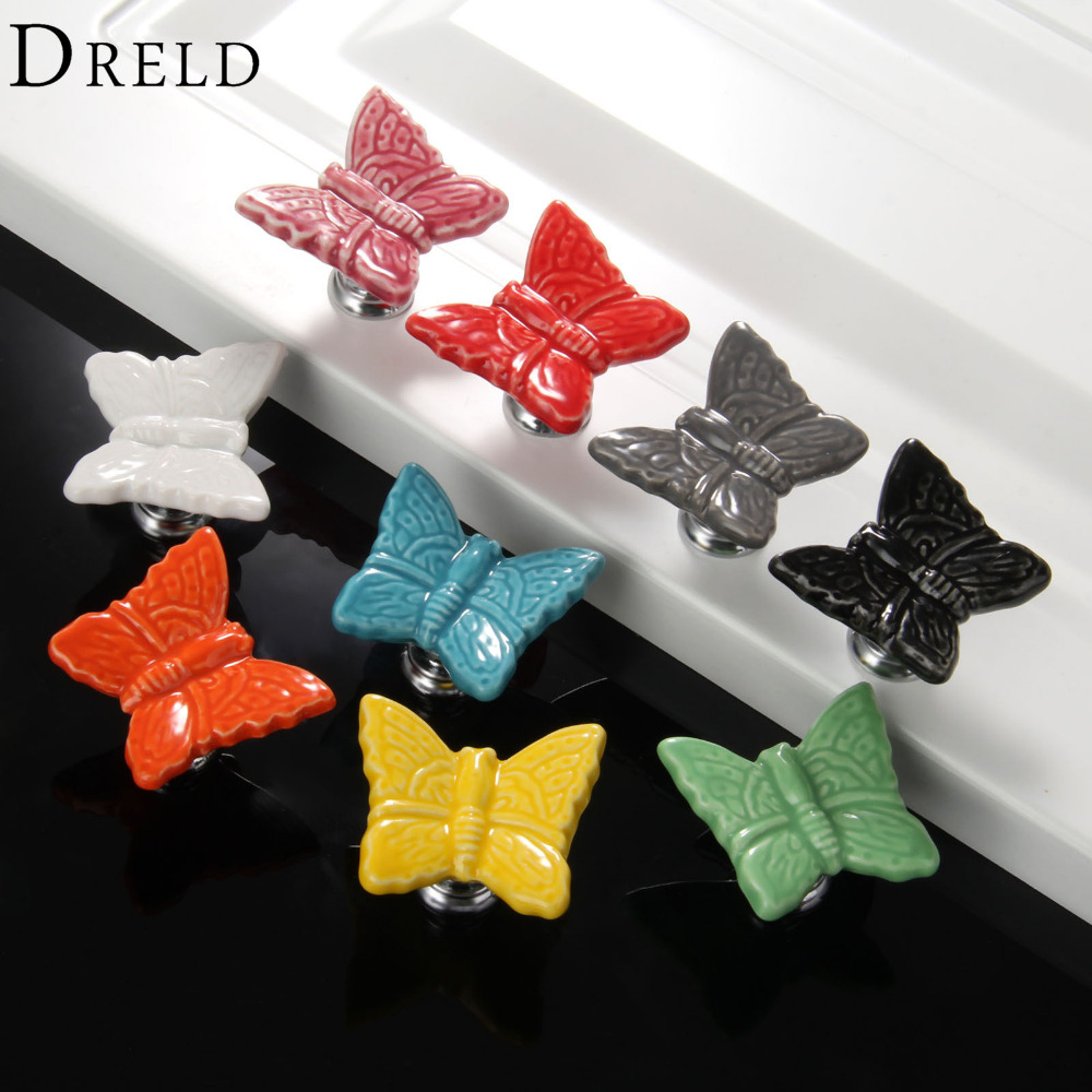 DRELD 1Pc Furniture Handles Butterfly Cabinet Knobs and Handles Ceramic Door Knob Cupboard Dresser Drawer Kitchen Pull Handle dreld 96 128 160mm furniture handle modern cabinet knobs and handles door cupboard drawer kitchen pull handle furniture hardware