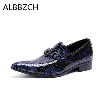 New mens blue patent leather business casual shoes men loafers fashion pointed toe slip on party dress shoes career work shoes