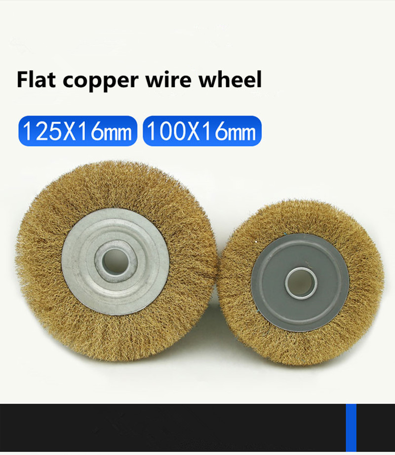Flat Copper Wire Wheel Brush Copper Metal Derusting Wood Grinding Polishing
