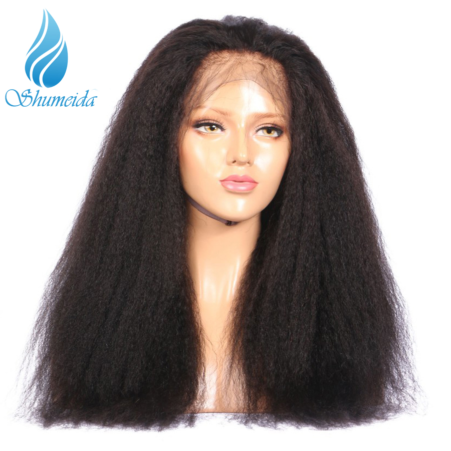 SHD Full Lace Human Hair Wigs Pre Plucked Bleached Knots 150 Density Lace Wig Kinky Straight