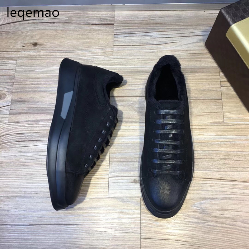 New Fashion Luxury Brand Men Loafers Winter Fur Warm Shoes Oxford Genuine Leather High Quality Lace-up Black Casual Shoes 38-44 dxkzmcm genuine leather men loafers comfortable men casual shoes high quality handmade fashion men shoes