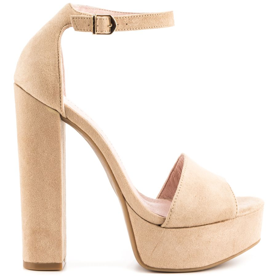 ФОТО Beige Micro Suede Simple Vamp Adjustable Ankle Strap Chunky Heel Platform Women Sandal Open Toe Ladies Shoes Made-to-order