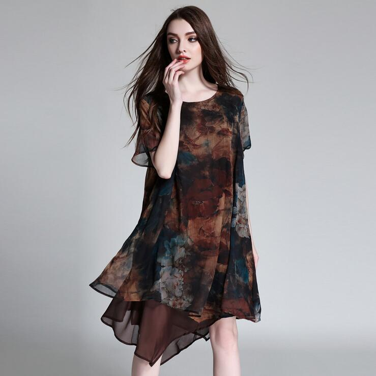 Big Size Print Loose Chiffon Dress for Women 2018 Summer Coffee Wine Color Irregular Ladies Dress 3XL 4XL Plus Size Women Dress