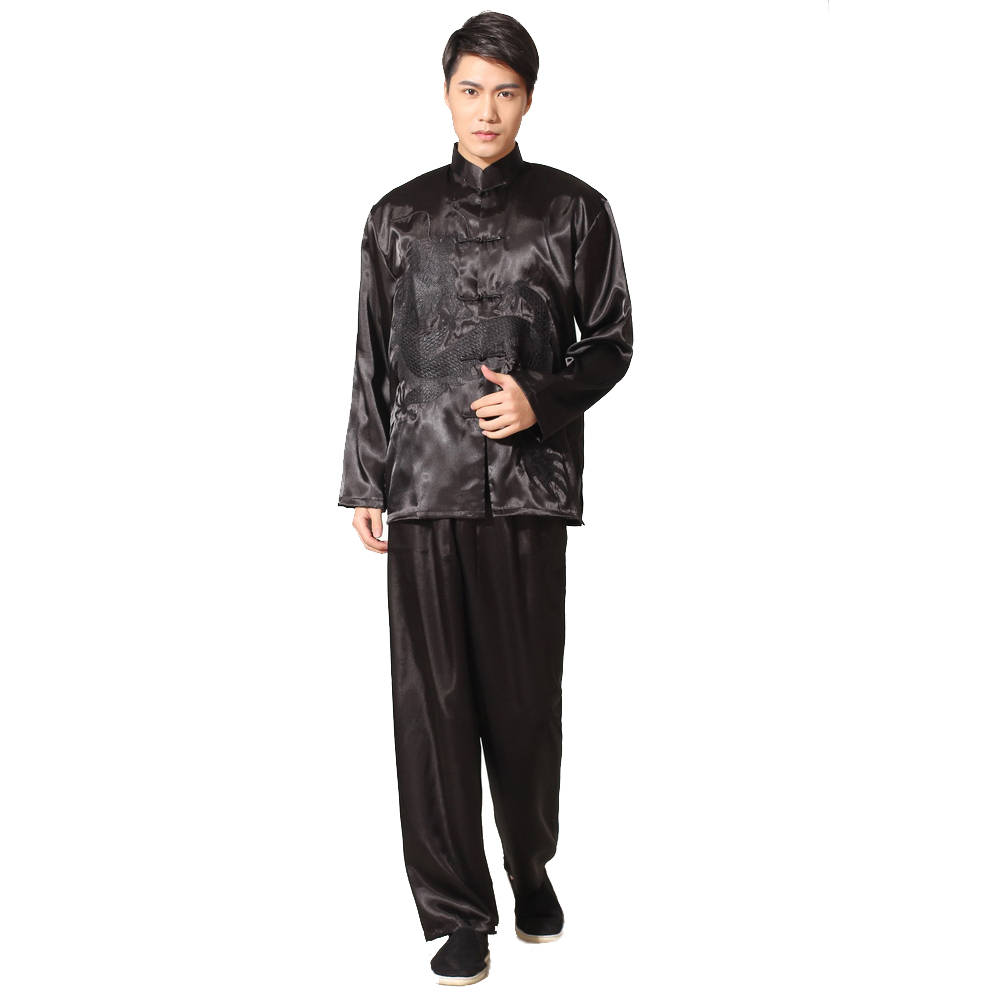 Hot Sale Black Chinese Mens Satin Rayon Kung Fu Suit Vintage Embroidery Dragon Tai Chi Wushu Uniform Size S M L XL XXL M051-1