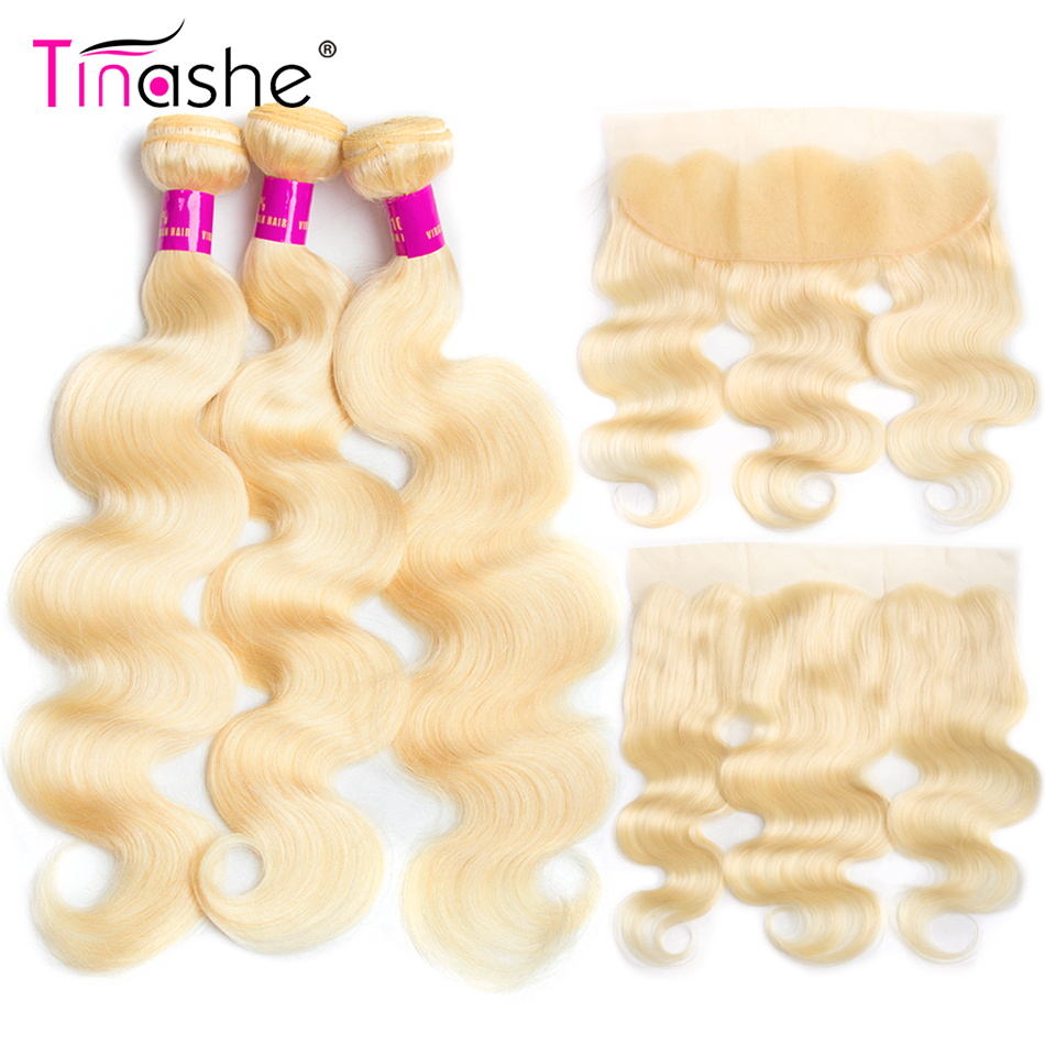 Tinashe Hair 613 Bundles With Frontal Brazilian Body Wave Bundles With Closure Remy Human Hair Blonde Bundles With Frontal