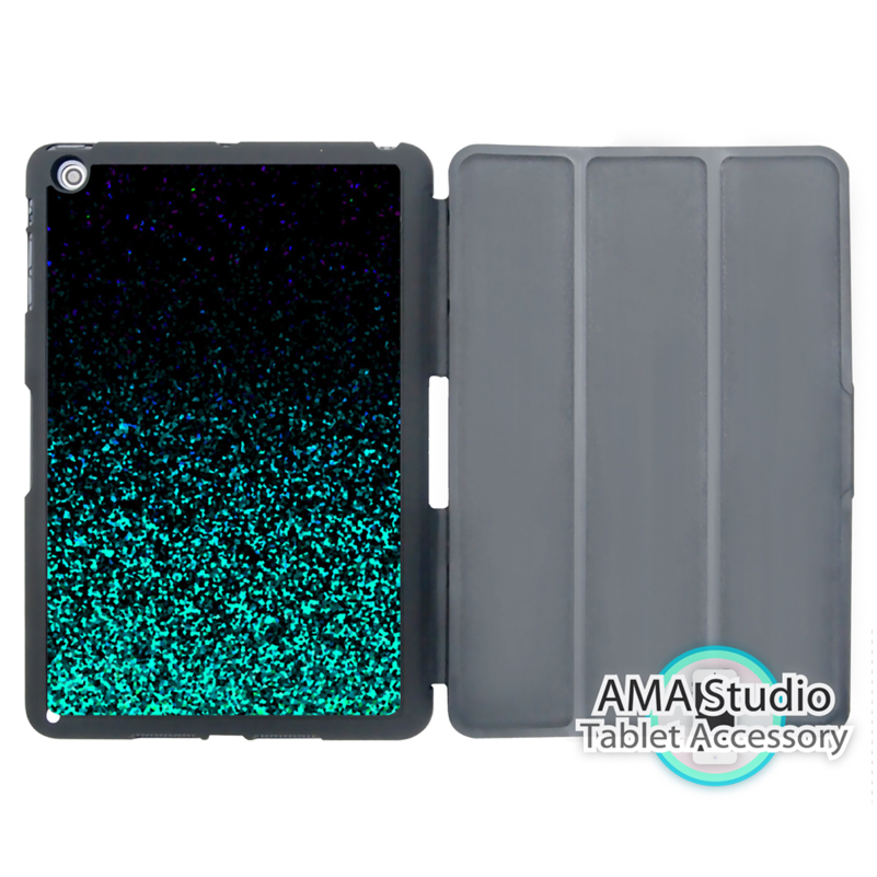 Black Green Glitter Pattern Print Case For Apple iPad Mini 1 2 3 4 Air Pro 9.7 Stand Fol ...