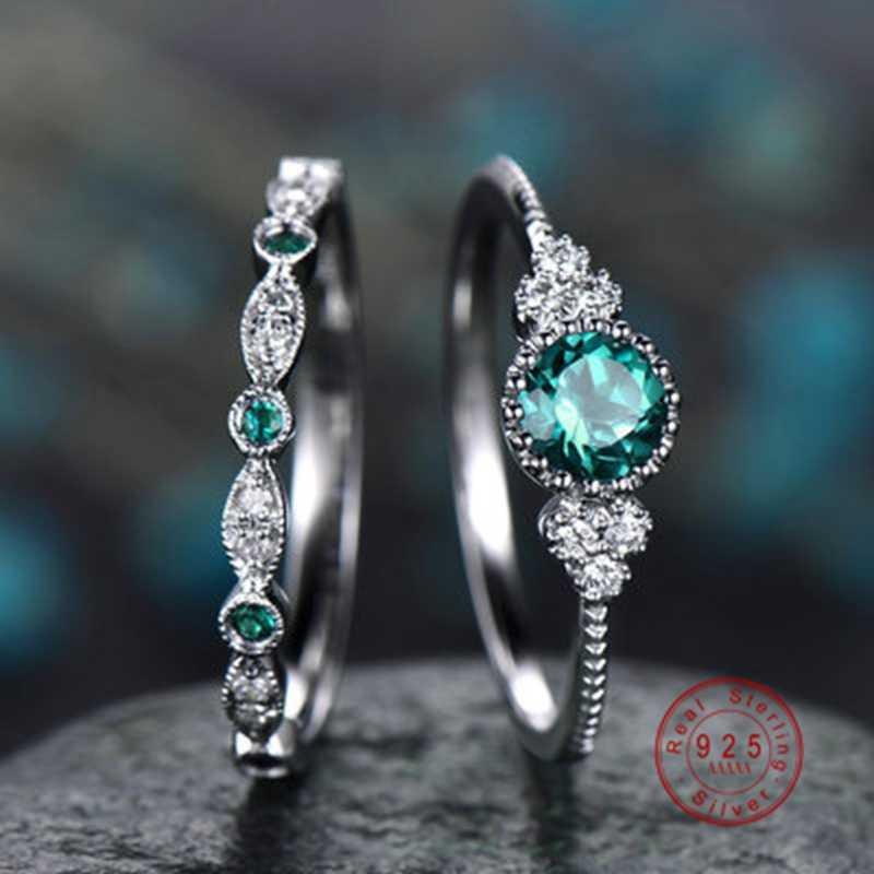 925 เงินสีผู้หญิงงานแต่งงานแหวนประกาย Perfect Blue รอบ Zircon แหวนหินหญิงหมั้นพรรคเครื่องประดับ Fine