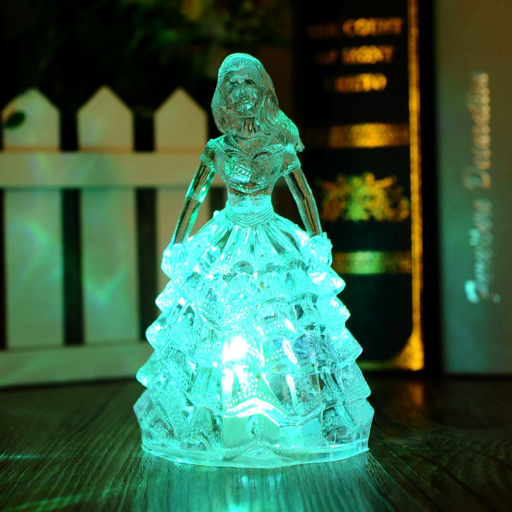 ᐅToys Colorful Gradient Princess Acrylic Crystal Night Light Doll ...