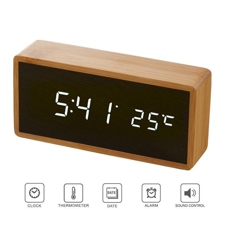 Bambou En Bois Miroir Alarme Horloges Température Sons Contrôle Horloge De Bureau Avec Numérique Montre Électronique LED Horloges Despertador